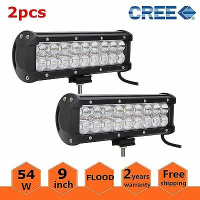 2X 9inch 54W LED Work Light Bar Flood Offroad Driving SUV ATV 4WD Truck Lamp Fog
