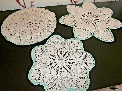 Three Vintage Beige & Green Cotton Hand Worked Crochet Lace Table Mats/doilies