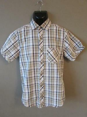 REGATTA Men's White Grey Green Check Short Sleeve Shirt Walking Size S VGC