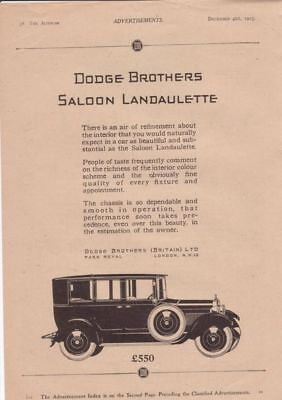 RF2098 1925 25 Dodge Brothers Vtg The AutoCar Magazine Ad