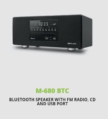 Muse M-680 BTC Stereo Bluetooth Speaker FM Radio, MP3, USB, AUX, CD, 40W - Black