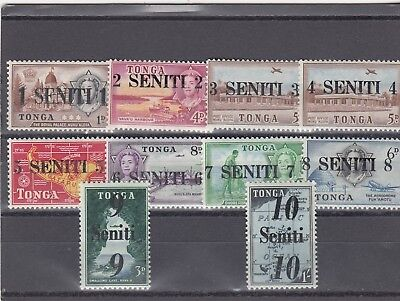 a127 - TONGA - 1967 MNH VARIOUS STAMPS SURCH TO 10s - SG228-237