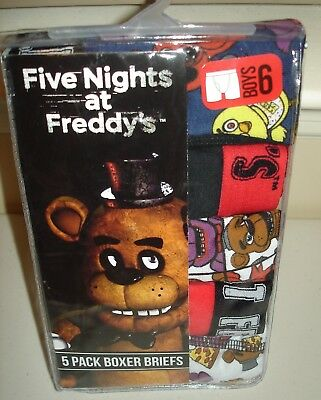 NIP Five Nights at Freddy's 5 pack boys boxer briefs size 6  8