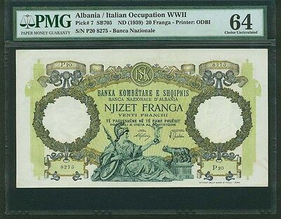 Albania  1939  20 Franga Banknote, Pmg Certified Choice Uncirculated-64