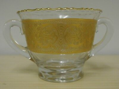 Vintage Tiffin Etched 22k Gold Glass Sugar Bowl With Handles