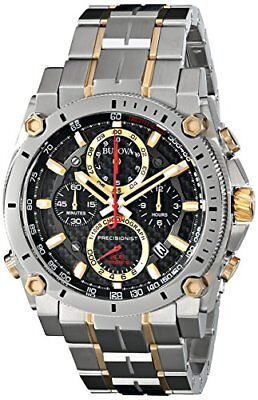 Bulova Precisionist Black Dial Two-Tone SS Chrono Quartz Mens Watch 98B228
