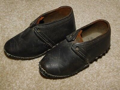 Antique Black Leather Toddler's Lancashire Clogs With Wooden & Metal Soles