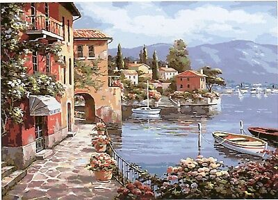 HARBOUR SIDE VISTA PAINTING PAINT BY NUMBERS CANVAS KIT 20 x 16 ins FRAMELESS