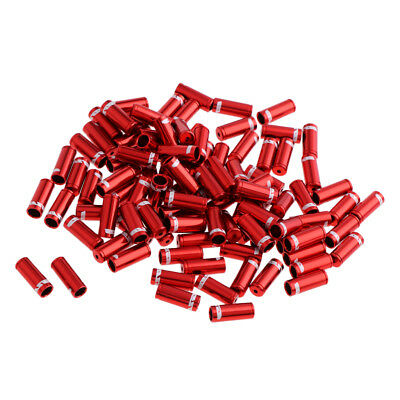 100x Bicycle Bike Brake Shifter Cable Wire 4mm Crimps End Ferrules Caps Red