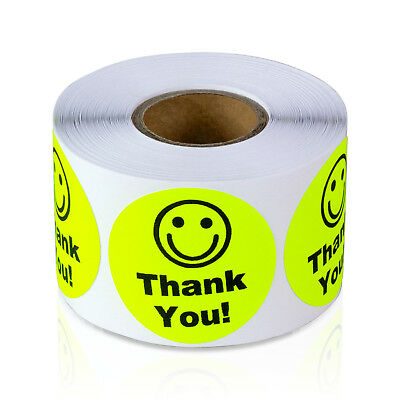 """Thank You with Smiley Face Stickers Kids Smile Praise Labels (1.5"""" Round, 1PK)"""