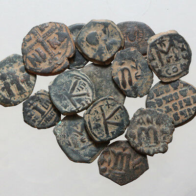 Lot Of 15 Byzantine And Arab Pseudo Byzantine Bronze Coins