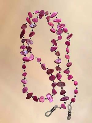 NEW Real Shell Pink Eye Glasses Chain Necklace Reading Strap Holder Long Length