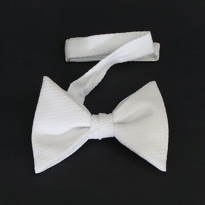 White pique polyester clip-on bow tie, 1970's or early 1980's vintage