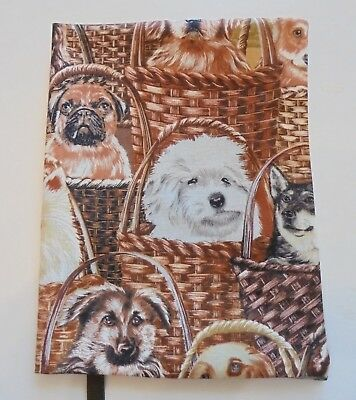 "FABRIC Book Cover 5¼"" x 8"" Book Dogs in Baskets FABRIC 5.25""x8"" BOOK COVER"
