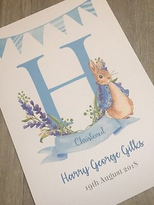 Personalised new baby birth details print in Peter Rabbit theme a4