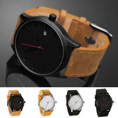 Casual Fashion Quartz Leather Strap Mens Boys Gifts Big Dail Date Wrist Watch
