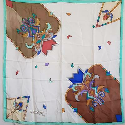 "Stunning Art Deco Hand Painted 1990S Vintage White Large 34"" Square Silk Scarf"