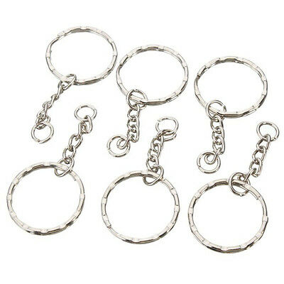 50pcs 25mm Keyring Blanks Silver Tone Key Chains Findings Split Rings 4 Link UK
