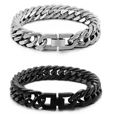 Heavy Black/Silver 316L Stainless Steel Curb Cuban Chain Bracelet for Cool Mens