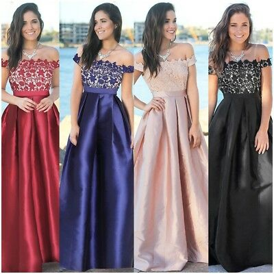 Womens Bardot Off Shoulder Formal Evening Party Bridesmaid Ball Gown Maxi Dress