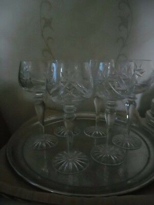 6 BEAUTIFUL CUT GLASS HOCK GLASSES swags and wheel design