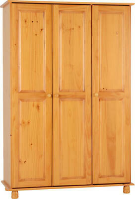 Sol 3 Door Triple Wardrobe Solid Antique Pine with Hanging Rail & Shelves