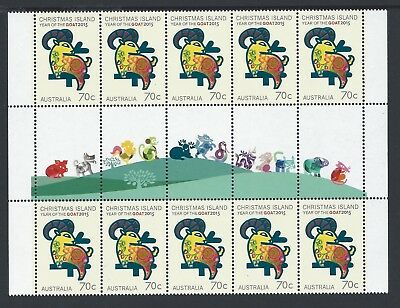 2015 Christmas Island Year Of The Goat Illustrated Gutter Strip Fine Mint Mnh