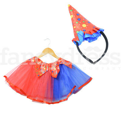 Child Girls Cute Red Clown Costume Tutu and Hat Circus Fancy Dress Outfit NEW