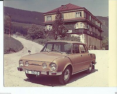 Skoda 110 LS Original Press Photograph Circa 1971 Colour Image Stamped on Rear