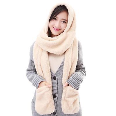 Colors New 3 in 1 Ladies Winter Warm Fluffy Hood Scarf Hat Snood Pocket Gloves Z