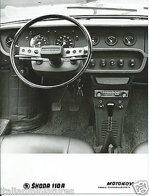 Skoda 110 R Original Press Photograph Circa 1974 Interior Dashboard Foto