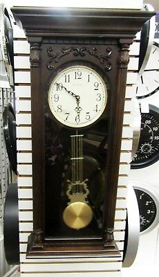 "Bulova Harmonic Triple Chime 2  Large Carved Wood Wall Clock ""norwood"" C3514"