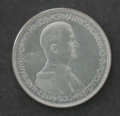 1930 Hungary 5 Pengo,  10th Anniversary - Regency of Admiral Horthy - HIgh Grade