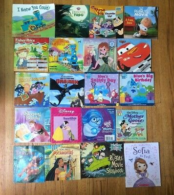 Lot 20 Kids Picture Books Blue's Clues Rugrats Frozen Disney Inside Out H1