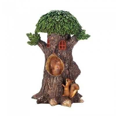 Home Garden Decor Solar Playful Squirrel Treehouse Statue Figurine