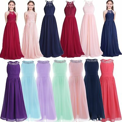 Kid Girl Halter Lace Chiffon Flower Dress Junior Wedding Evening Party Maxi Gown