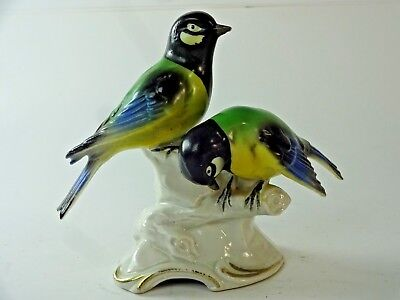 "Vintage Erphila Germany Hand Crafted Porcelain Bird Couple Figurine 5"" #8363"