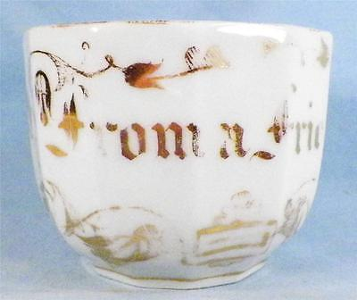 Antique From A Friend  Mug Cup Whiteware Porcelain Gold Lettering Victorian