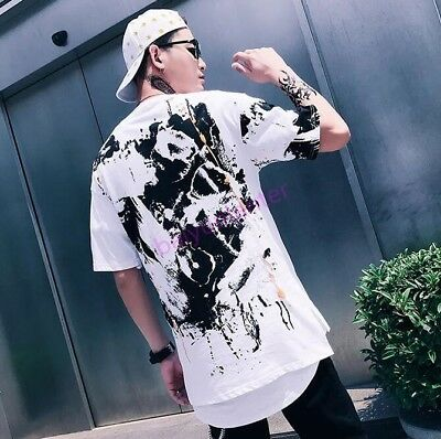 Mens Floral Printing Round Neck T Shirt Hip Hop Punk Casual Loose Tops Hot Tees