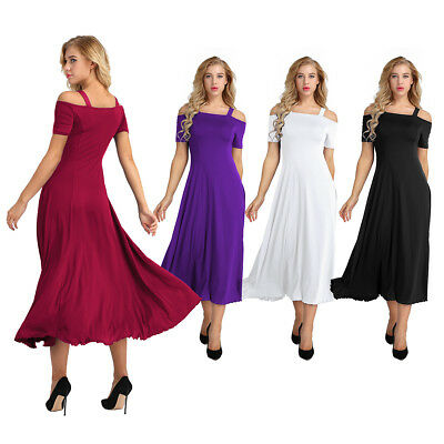 Womens Summer Casual Cold Shoulder Solid Long Maxi Dress Cocktail Party A-line