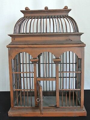 Vintage Beautiful Handcrafted Domed Wood Bird Cage Birdhouse