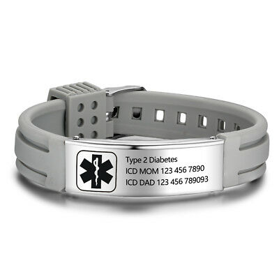 Customized Medical Alert ID Bangle Mens Engrave Bracelets Personalized Bracelet