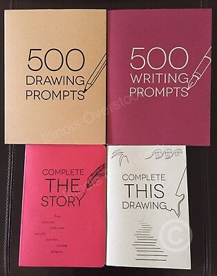 500 Writing Drawing Prompts & Complete The Story Drawing 4PC Book Set Piccadilly