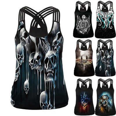 Summer Women's Gothic Animal Tank Tops Sexy Hollow Out 3D Skull Print T-Shirts