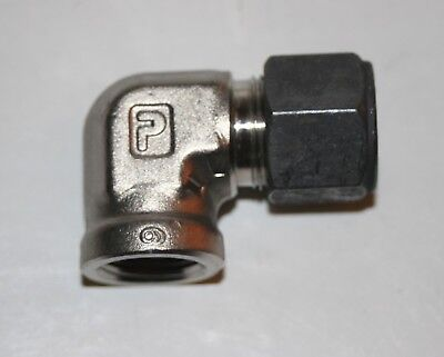 """1/2"""" Tube x 3/8"""" FNPT SS Female Elbow Connector Parker CPI 8-6 DBZ-SS"""