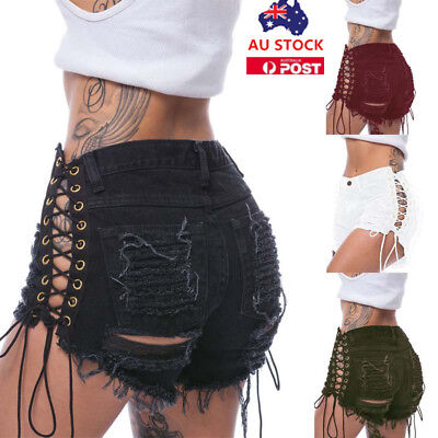 Women High Waist Ripped Side Lace Up Denim Shorts Summer Casual Mini Hot Pants