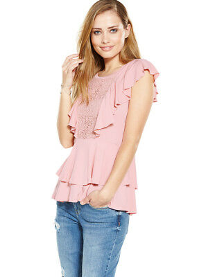 V by Very Lace Panel Frill Tie Shoulder Top