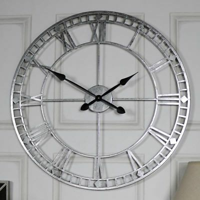 Extra large vintage silver retro wall mounted clock Roman numeral display gift