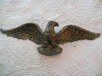 "Vintage Metal American Bald Eagle Wall Mount Plaque Medium Sized 17"" X 5 1/2"""