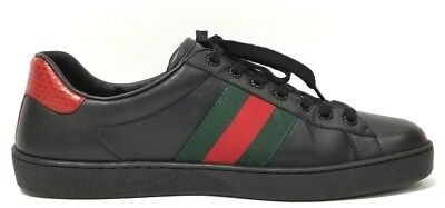 7ada110e33a GUCCI MEN S BLACK Ace Leather Low Top Sneakers Size 9 G  us 10 ...